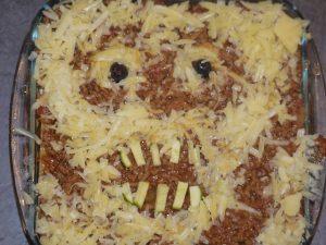 skull lasagna halloween recipe